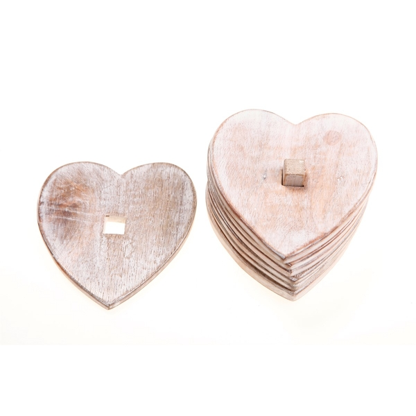 Sass & Belle Wooden Heart Coasters - Set of 6