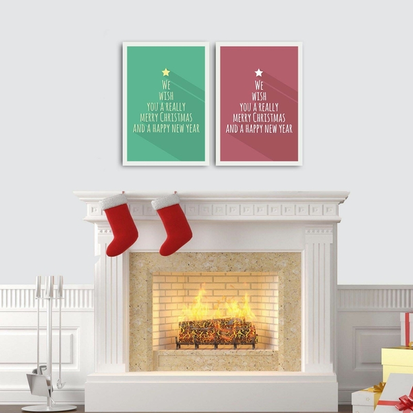 2PBCTNOEL-07 Multicolor Decorative Framed MDF Painting (2 Pieces)