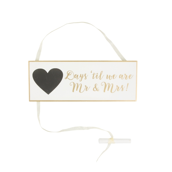 Sass & Belle Gold & White Wedding Countdown Plaque
