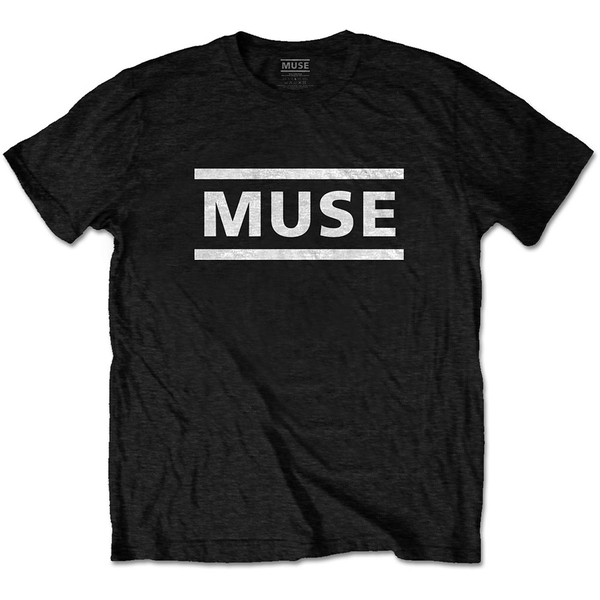 Muse - White Logo Unisex Medium T-Shirt - Black