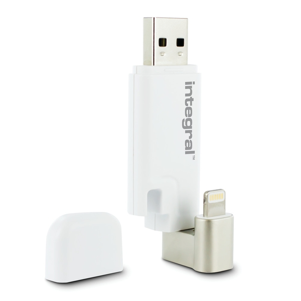 Integral 64GB USB3.0 Drive Lightning USB iShuttle White Dual Connector For Iphone And Ipad