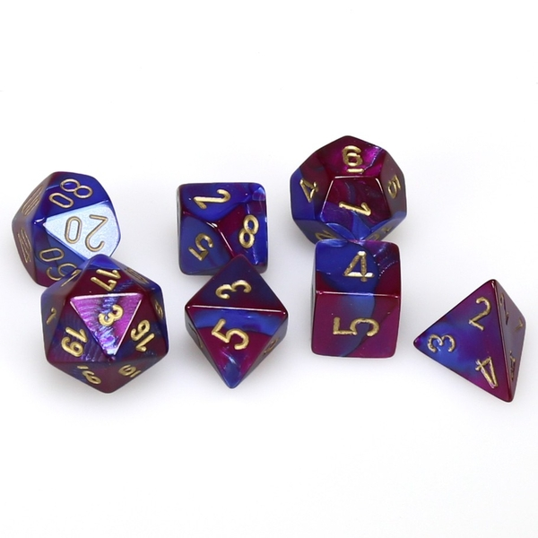 Chessex Gemini Poly 7 Dice Set: Blue-Purple/Gold