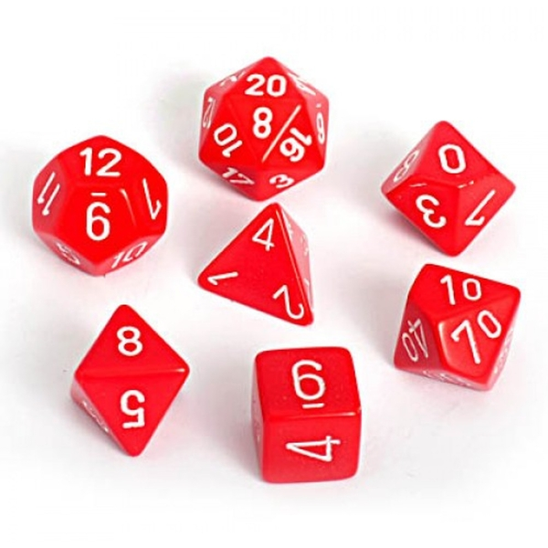 Chessex Opaque Poly 7 Dice Set: Red/White