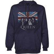 Queen - Union Jack Men's Large Pullover Hoodie - Navy Blue