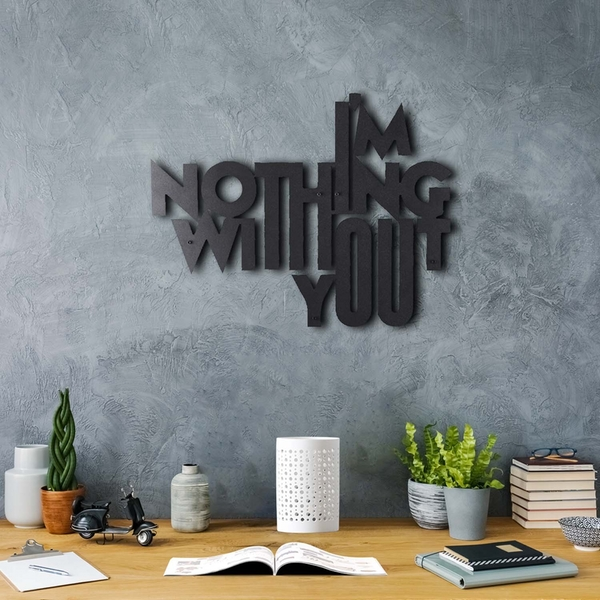 Nothing Without U Black Decorative Metal Wall Accessory