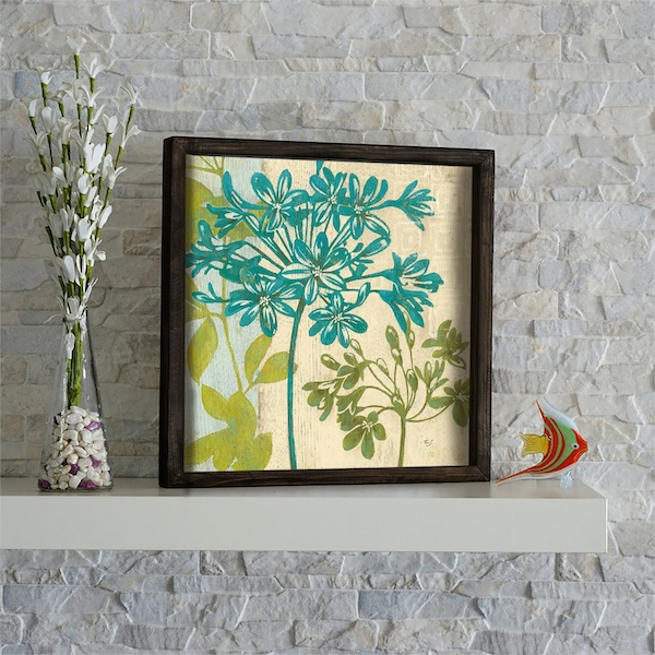 KZM429 Brown Green Beige Mint Decorative Framed MDF Painting