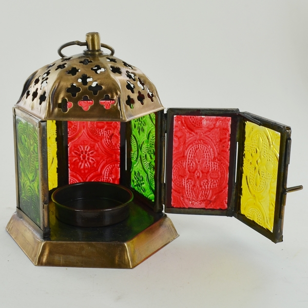Brass Antique Colour Glass Morroccan Lanterns (Set of 2)