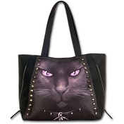 Black Cat Pu Leather Studded Tote Bag