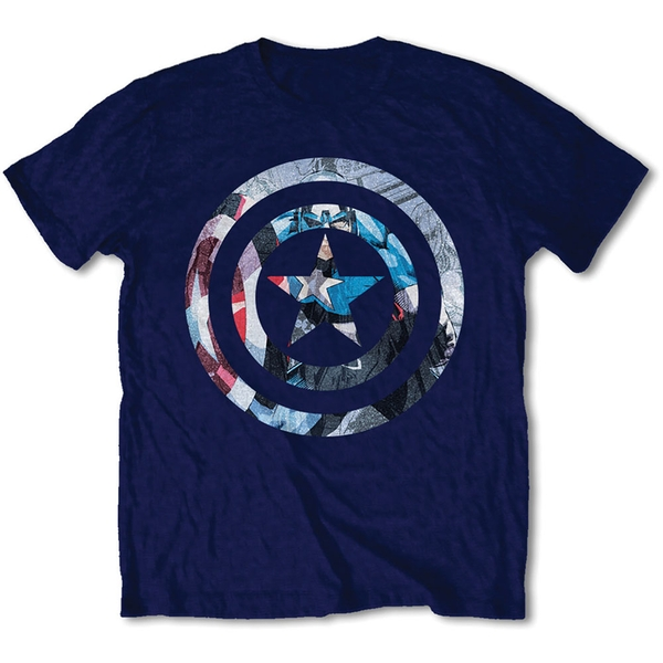 Marvel Comics - Captain America Knock-out Unisex Large T-Shirt - Blue