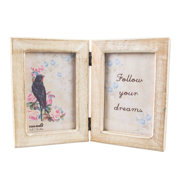 Sass & Belle Double White Wood Photo Frame