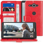 Sony Xperia XZ2 Compact PU Leather ID Stand Wallet - Red