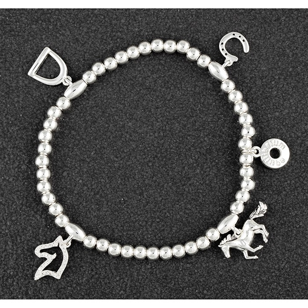 Country Equestrian Silver Plated Charm Bracelet