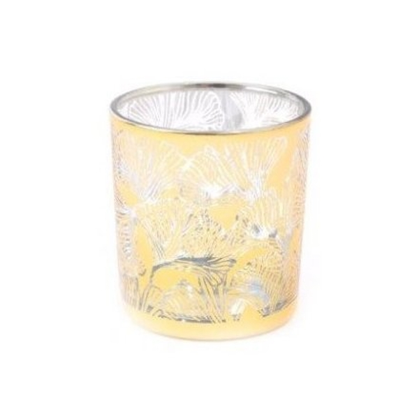 Gold Lotus Printed Candle Pot 8cm