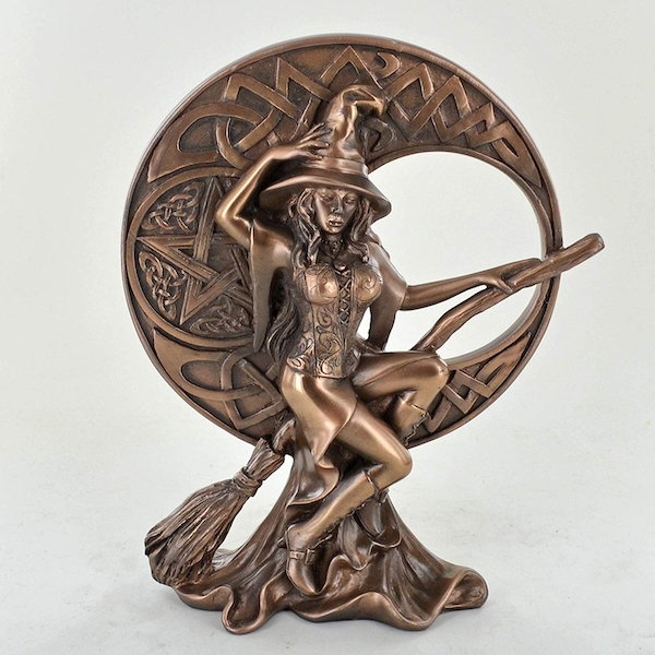 Witch With Celtic Moon Bronze Ornament 17cm