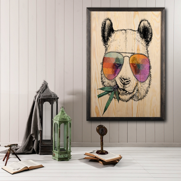 Cool Panda Multicolor Decorative Framed Wooden Painting