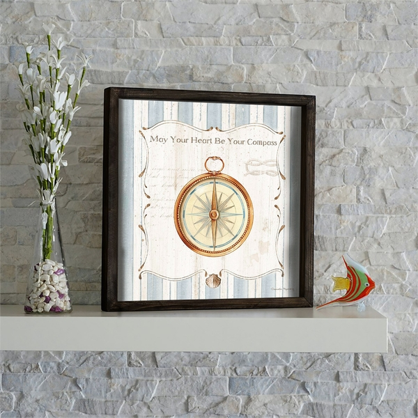 KZM574 Brown Blue White Decorative Framed MDF Painting