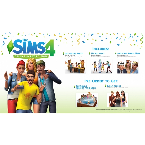 the sims 4 deluxe party edition ps4 game. Black Bedroom Furniture Sets. Home Design Ideas