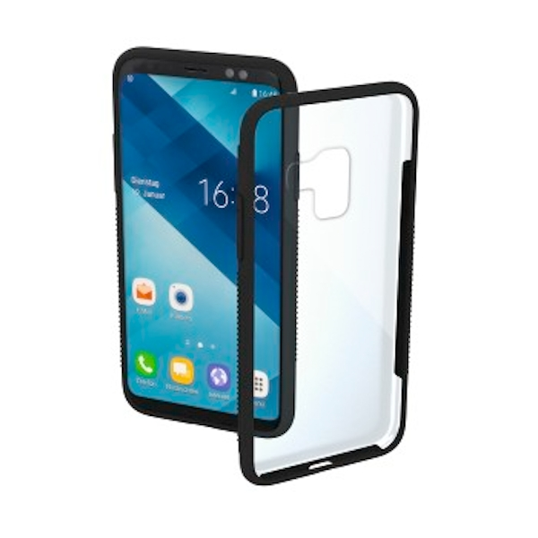 "Hama ""Frame"" Cover for Samsung Galaxy A6 (2018), transparent/black"