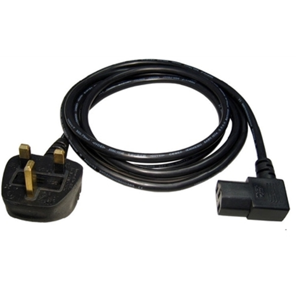 UK Mains to Right-Angled IEC Kettle 1.8m Black OEM Power Cable