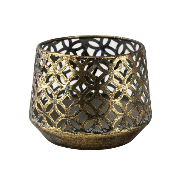 Antiqued Blackened Brass Tealight Holder Small