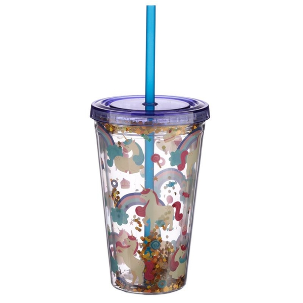 Unicorn Design Glitter Double Walled Cup with Lid and Straw