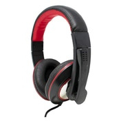 Jedel Gaming Headset, USB, 40mm Drivers, Adjustable mic, Inline Controls, Black/Red