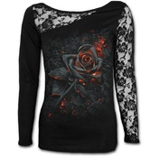 Burnt Rose Women's X-Large Lace One Shoulder Long Sleeve Top - Black
