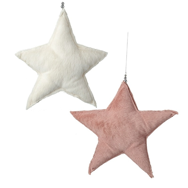 Hanging Felt White and Pink Medium Stars (Set of 2) By Heaven Sends
