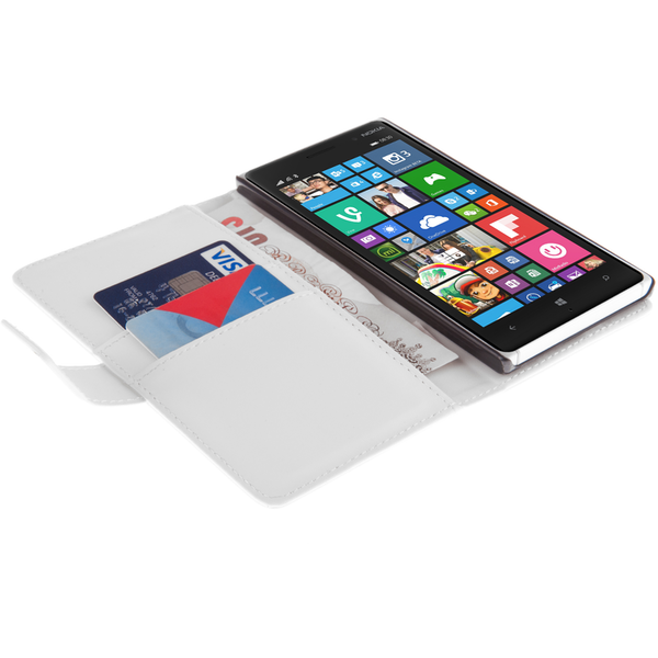 YouSave Accessories Nokia Lumia 830 Leather-Effect Wallet Case - White - Image 3