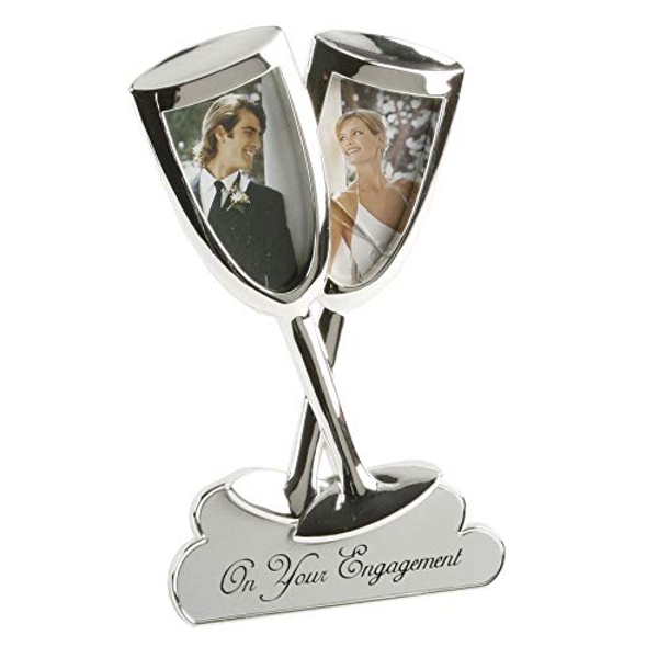 "2"" x 3"" - Engagement Champagne Flutes Double Photo Frame"