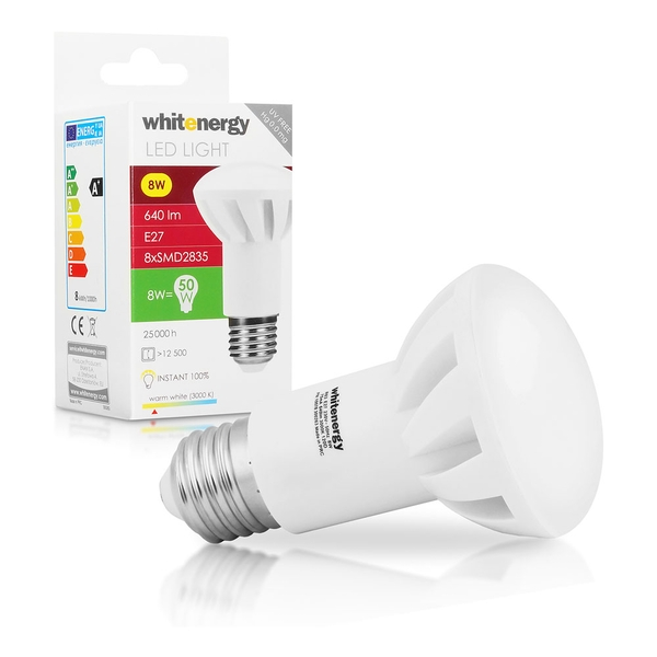 Whitenergy LED Bulb | 8X Smd 2835 LED | R63 | E27 | 8W| 230V | White Warm