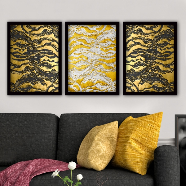 3SC99 Multicolor Decorative Framed Painting (3 Pieces)