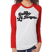 Suicide Squad - Daddys Little Monster Women's Medium Baseball Shirt - Black