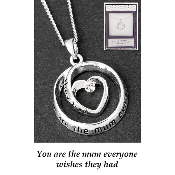 Equilibrium Silver Plated Heart Circle Necklace Mum