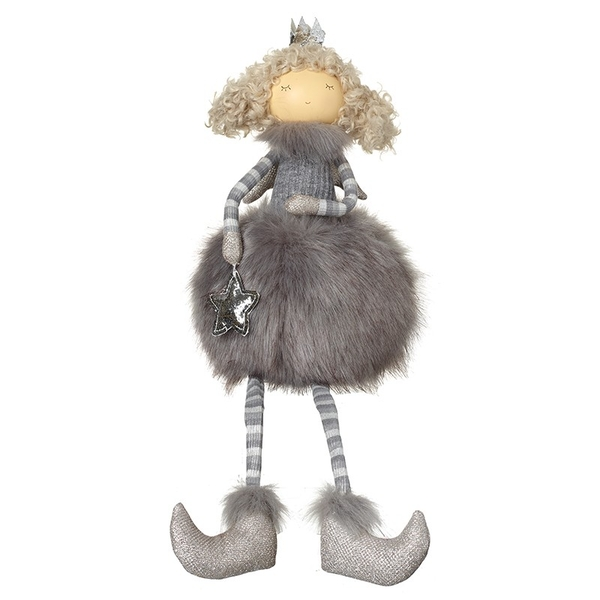 Angel In Grey Fluffy Skirt Decoration by Heaven Sends