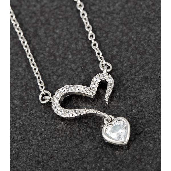 Open Heart Dangly Crystal Platinum Plated Necklace