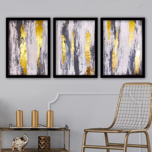 3SC183 Multicolor Decorative Framed Painting (3 Pieces)