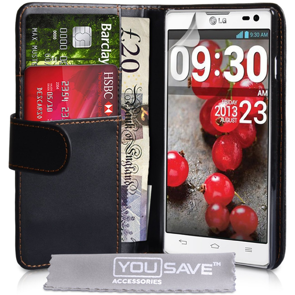 YouSave Accessories LG L9 Ii Leather-Effect Wallet Case - Black