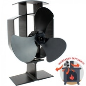 4 Blade Heat Powered Stove Fan | Wood Log Burner Fireplace | Eco Friendly M&W