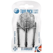 Harrows Twin Pack Dart Flight/Shafts Black/Silver