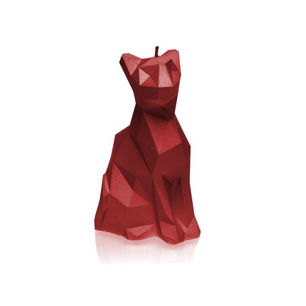 Red Low Poly Cat Candle