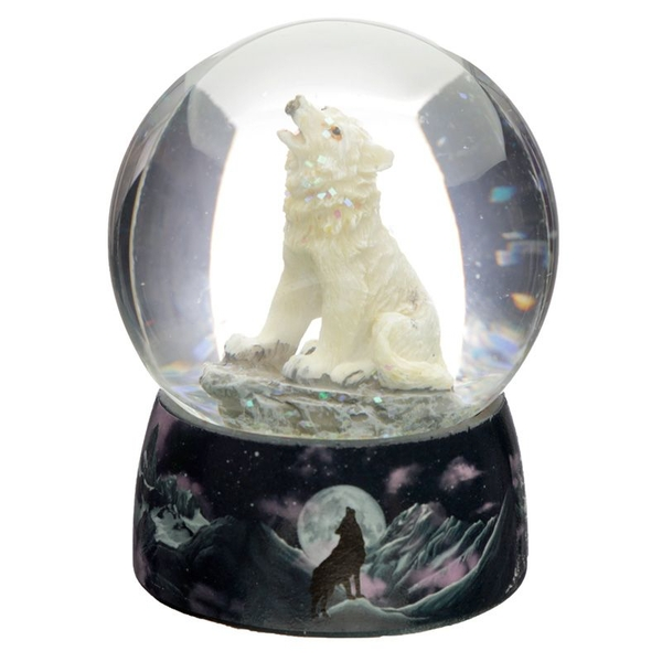 Protector of the North Dreams on the Wind Wolf Snow Globe