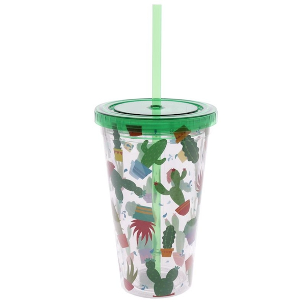 Cactus Double Walled Cup with Lid and Straw