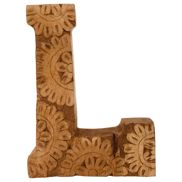 Letter L Hand Carved Wooden Flower