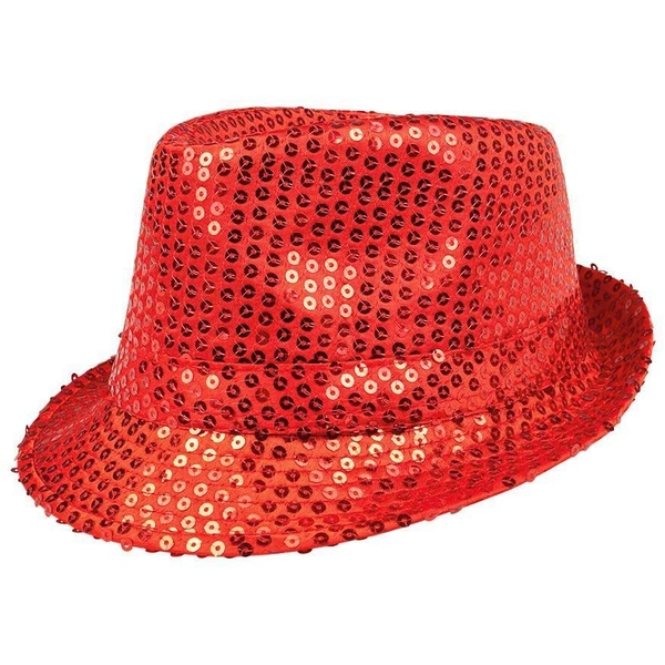 Sequin Hat Adults One Size (Red)
