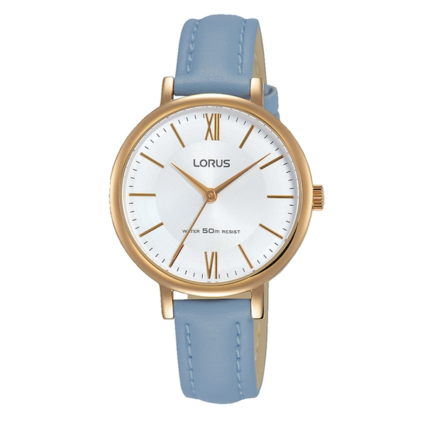 Lorus RG264LX5 Ladies Elegant Light Blue Leather Strap Watch with Rose Gold Plated Case