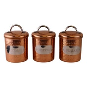Hammered Copper Set of 3 Tea, Coffee & Sugar Canisters