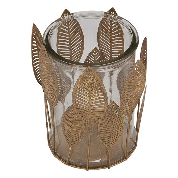 Gold Metal Leaf Design With Glass Pot By Heaven Sends