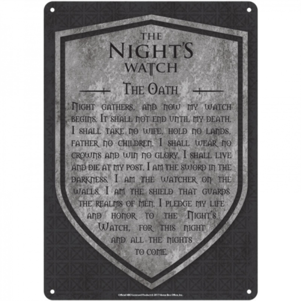 Game Of Thrones - Nights Watch A5 Metal Wall Sign
