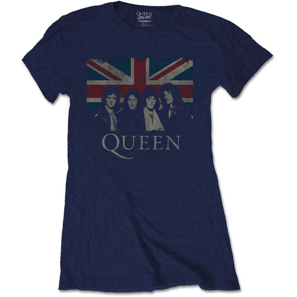 Queen - Vintage Union Jack Women's Small T-Shirt - Navy Blue